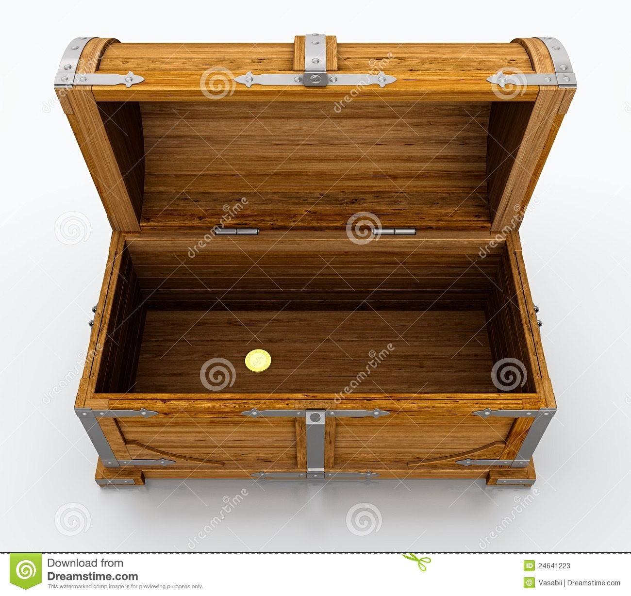 Empty treasure chest isolated on white background.