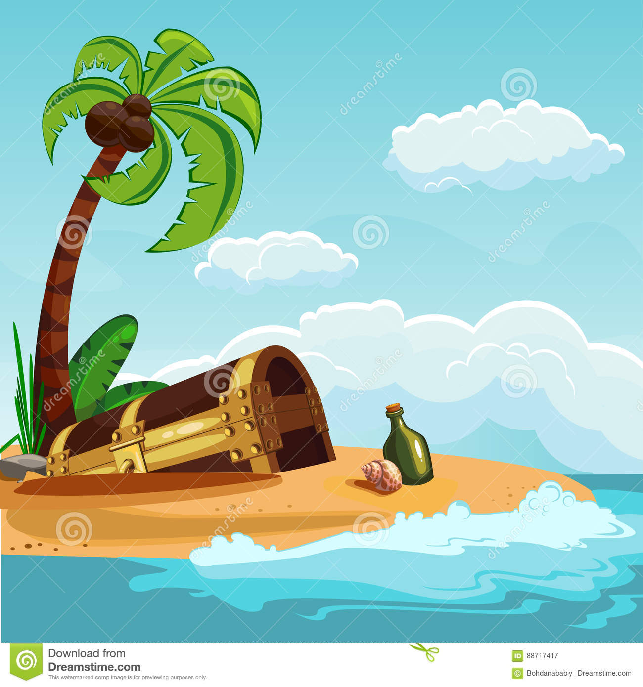 Treasure Chest Buried On The Beach Cartoon Vector