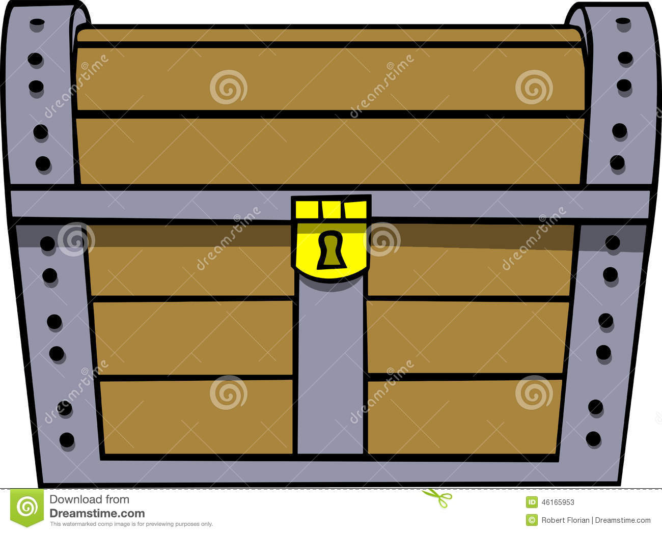 treasure chest, closed and locked, gold lock, iron and wood ...