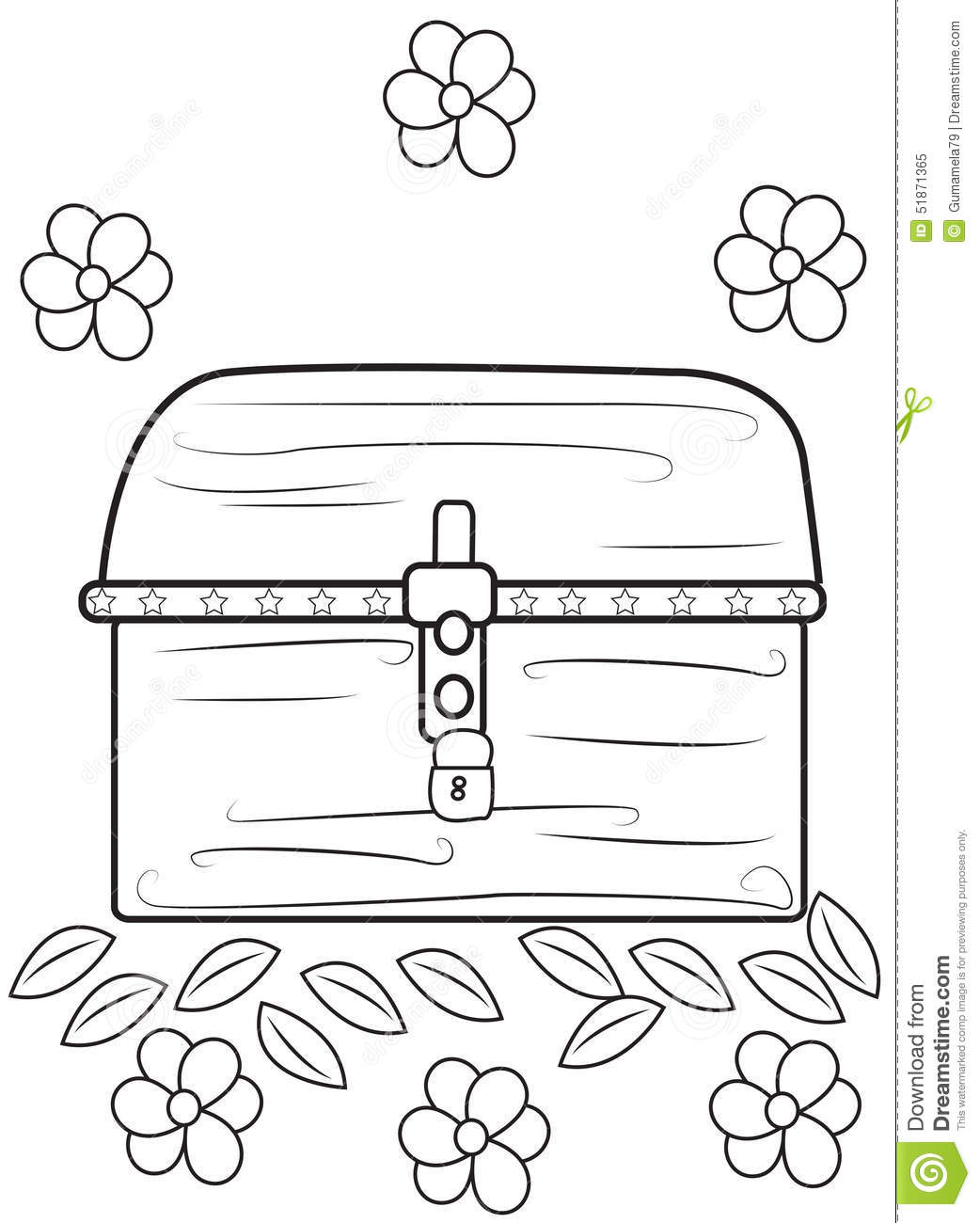 Treasure Chest Coloring Page Stock Illustration
