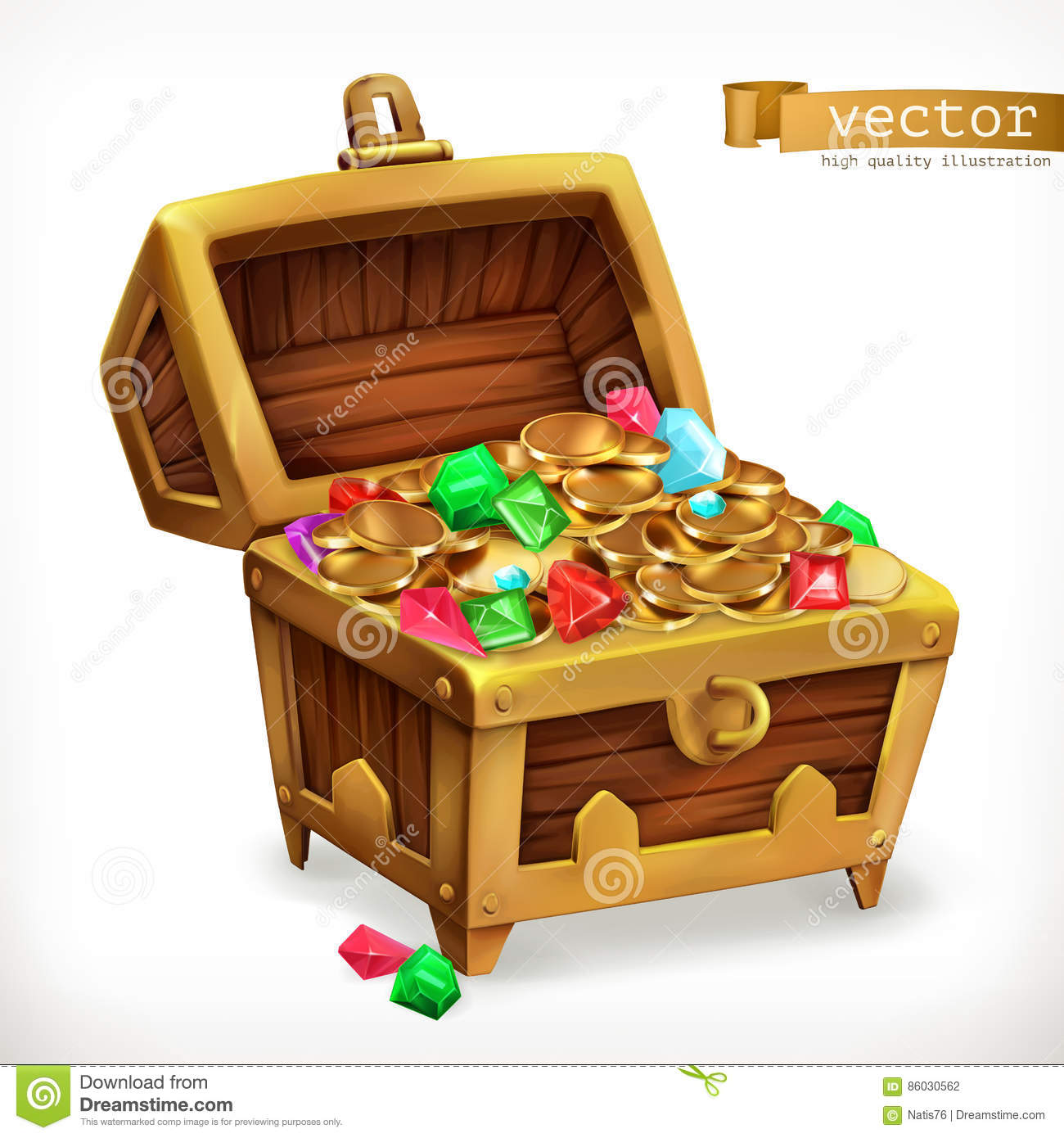 Treasure chest. Gems and gold coins. Vector icon