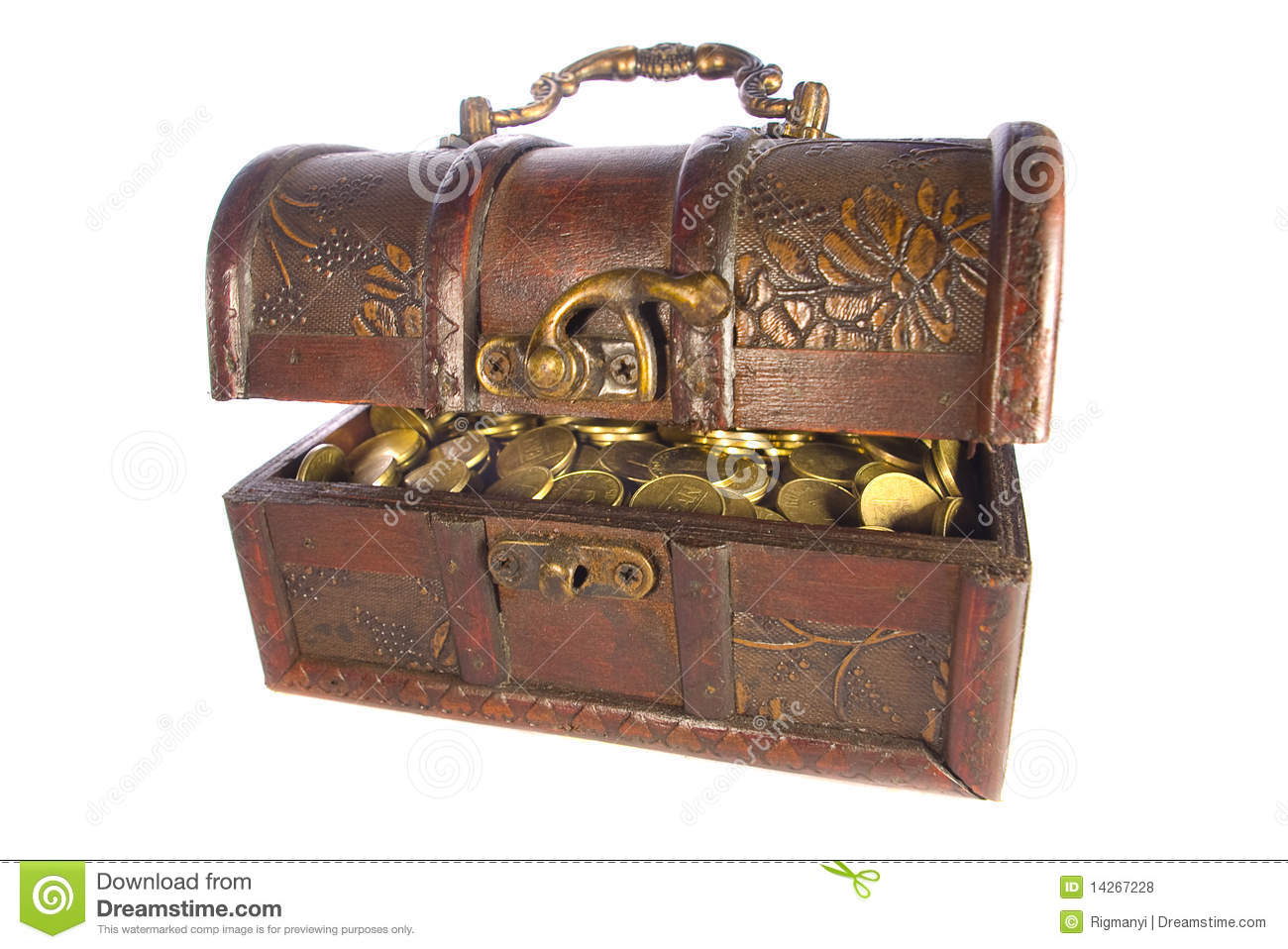 Treasure chest with gold coins isolated