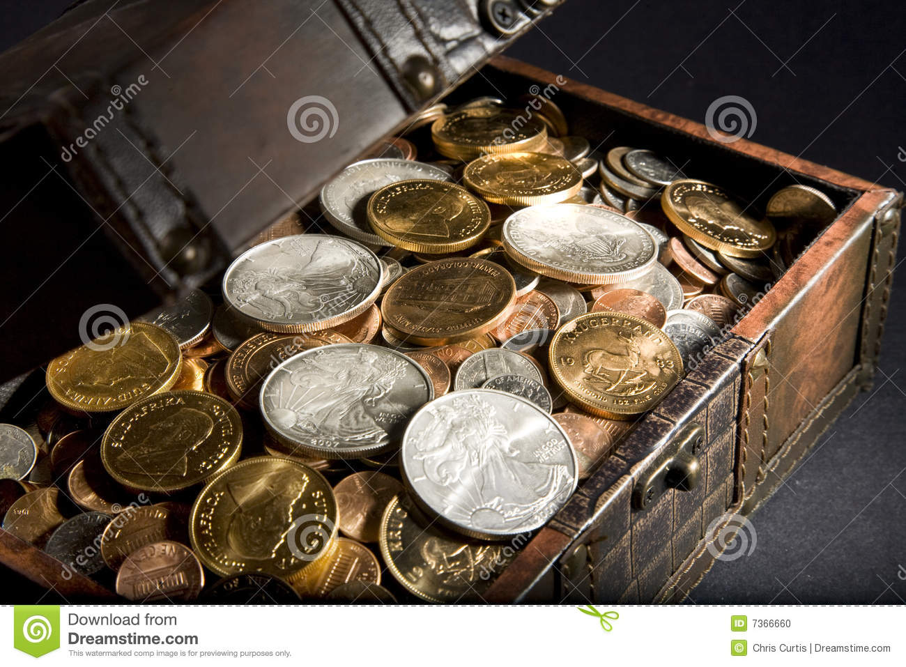Treasure Chest With Gold And Silver Stock Photo Image