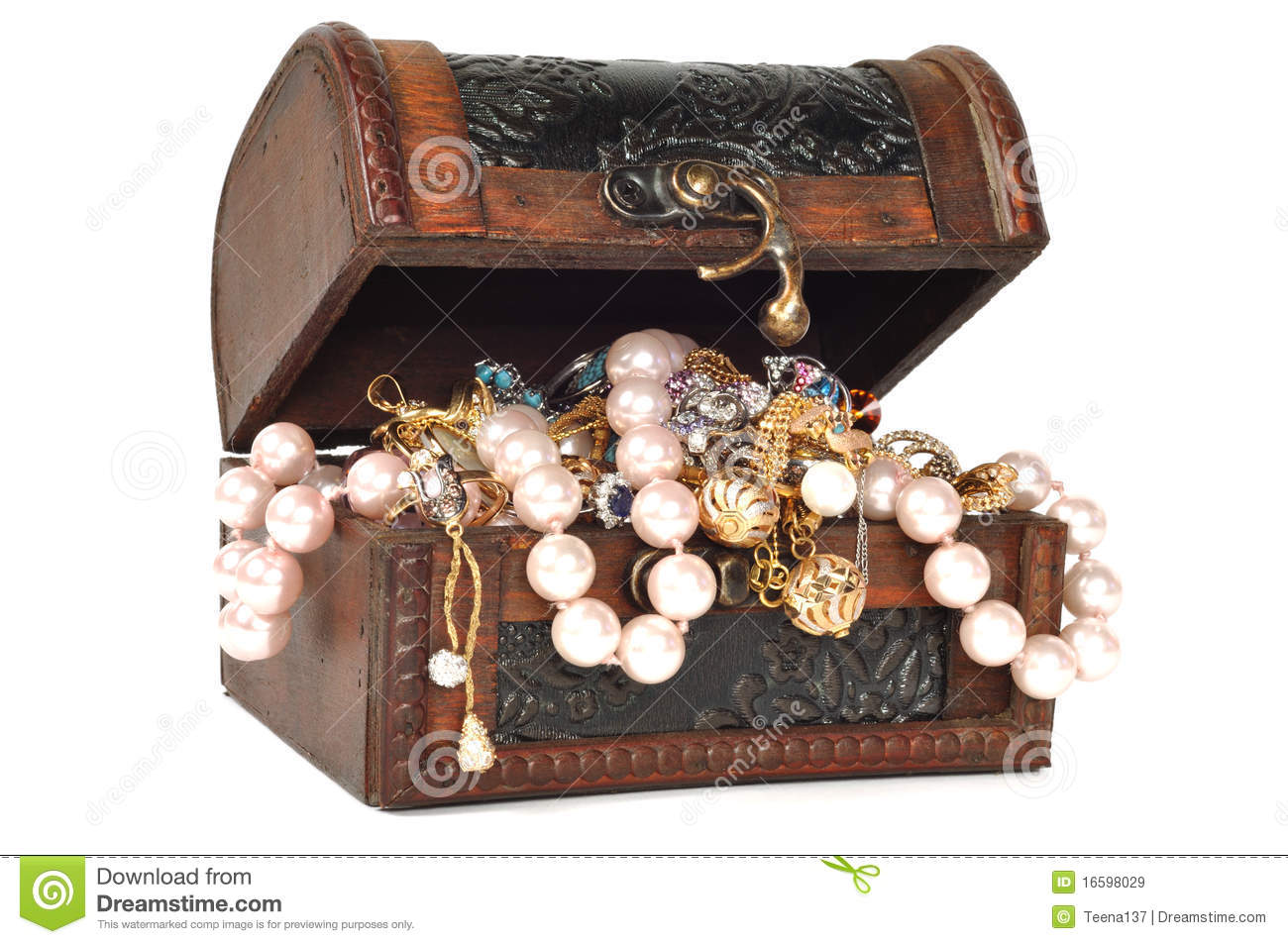 Treasure Chest With Jewelry Stock Image Image Of Gold