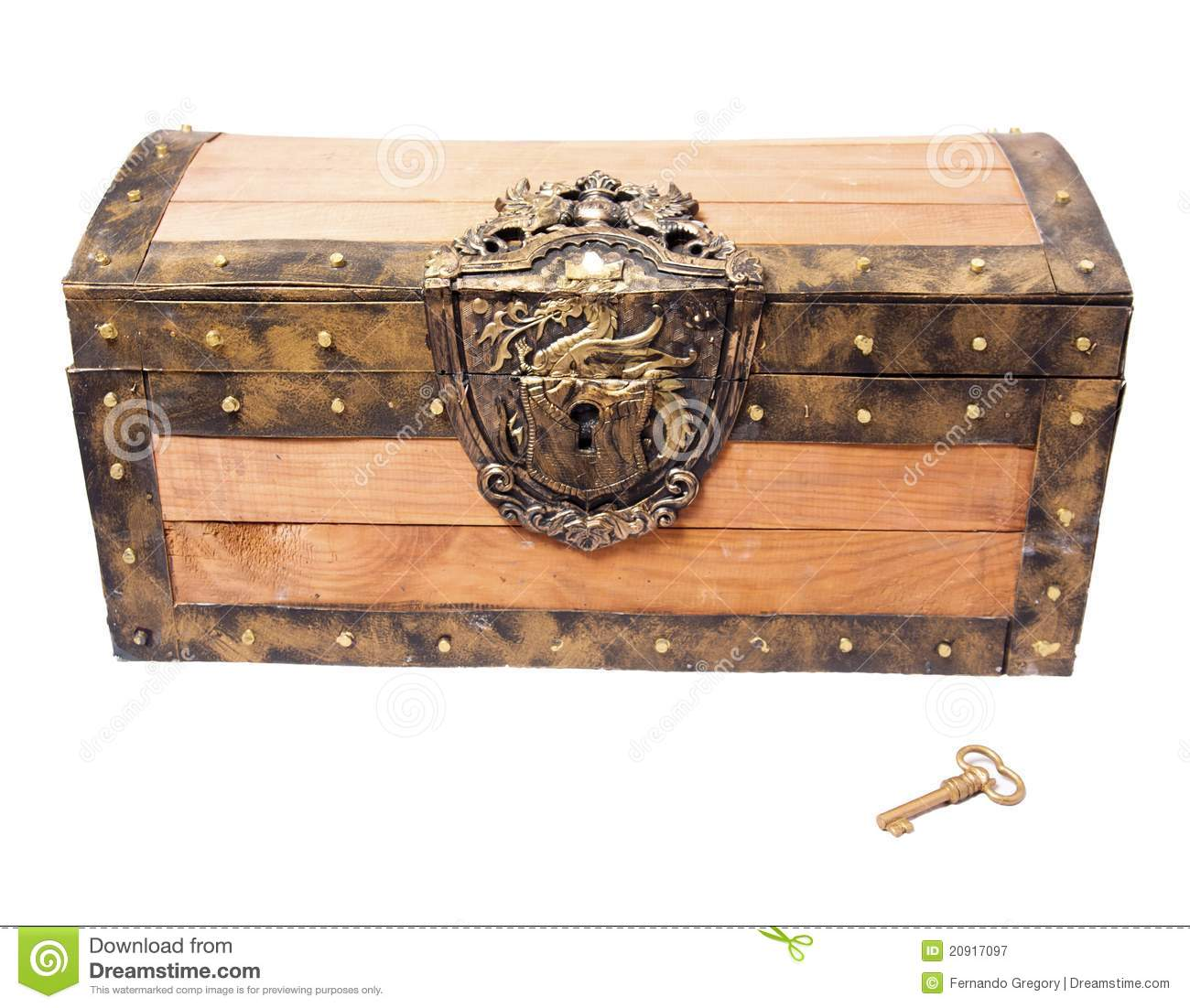 treasure chest with key isolated on white royalty free stock