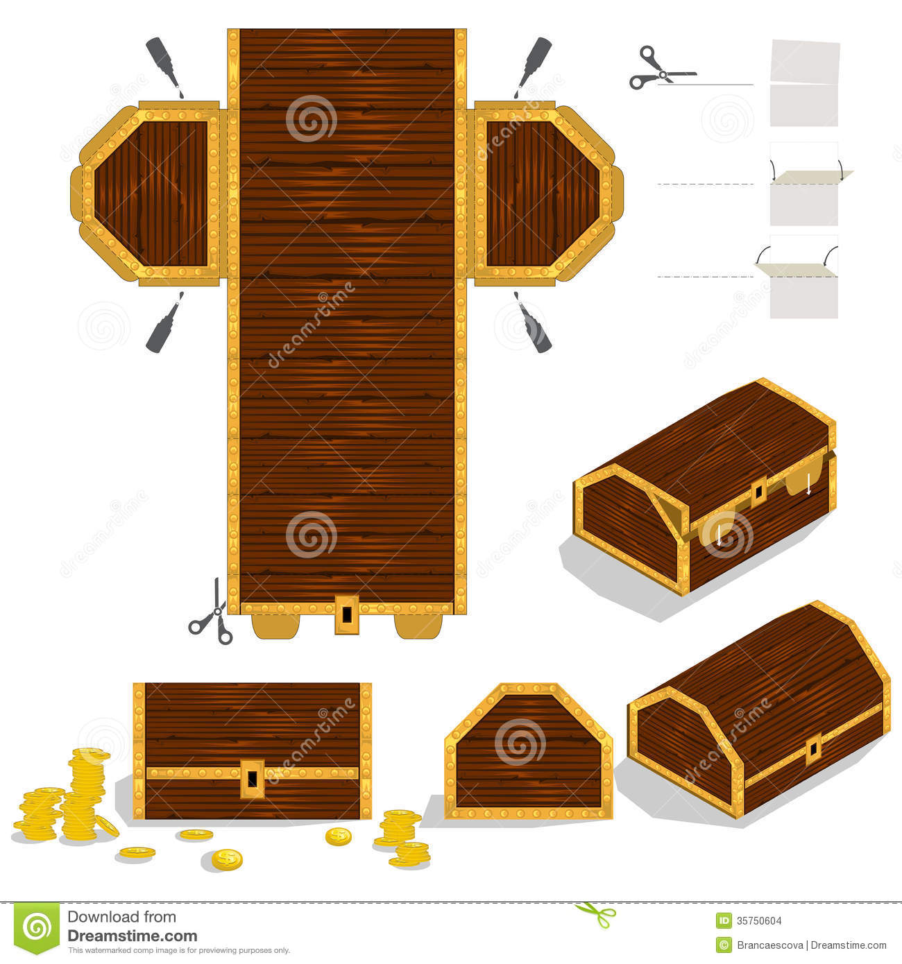Treasure Chest Packaging Box Design Stock Images - Image: 35750604