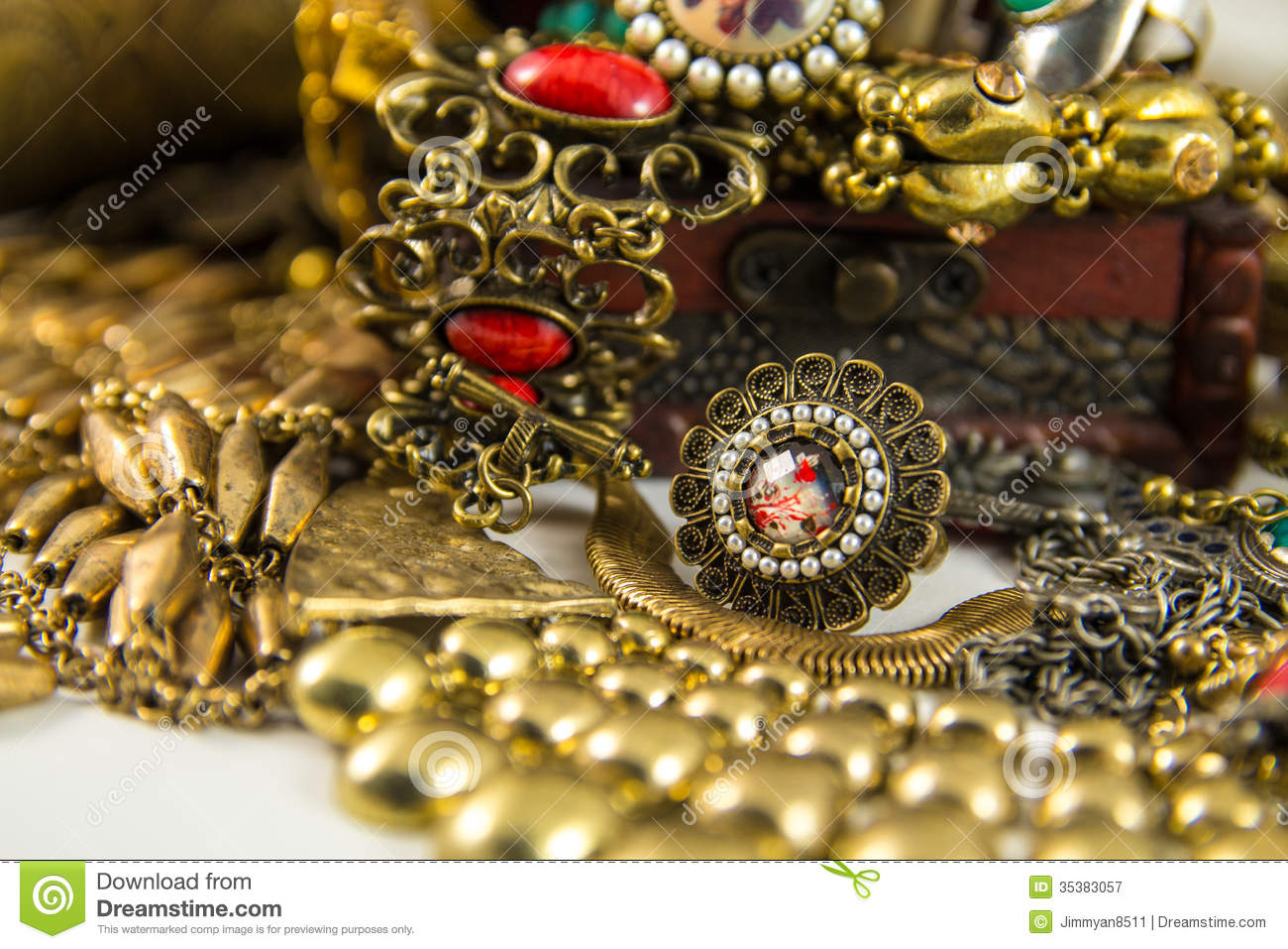 Treasure Chest stock image. Image of treasure, necklace ...