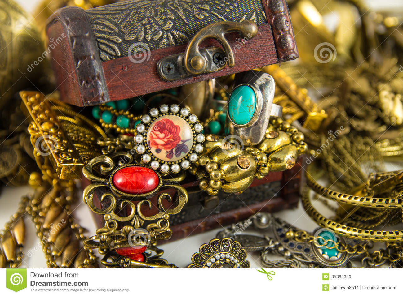 Treasure Chest stock image. Image of necklace, bracelet ...