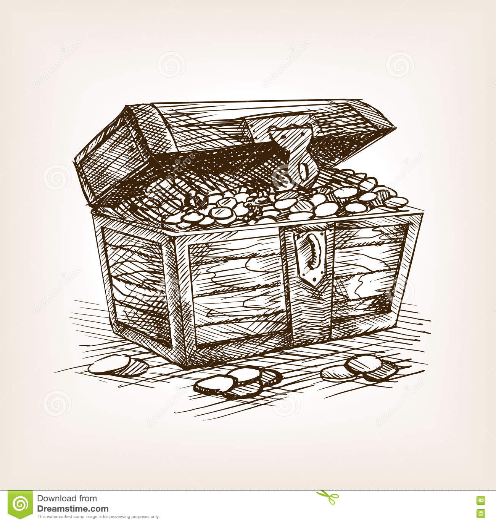 treasure chest sketch style vector illustration stock vector