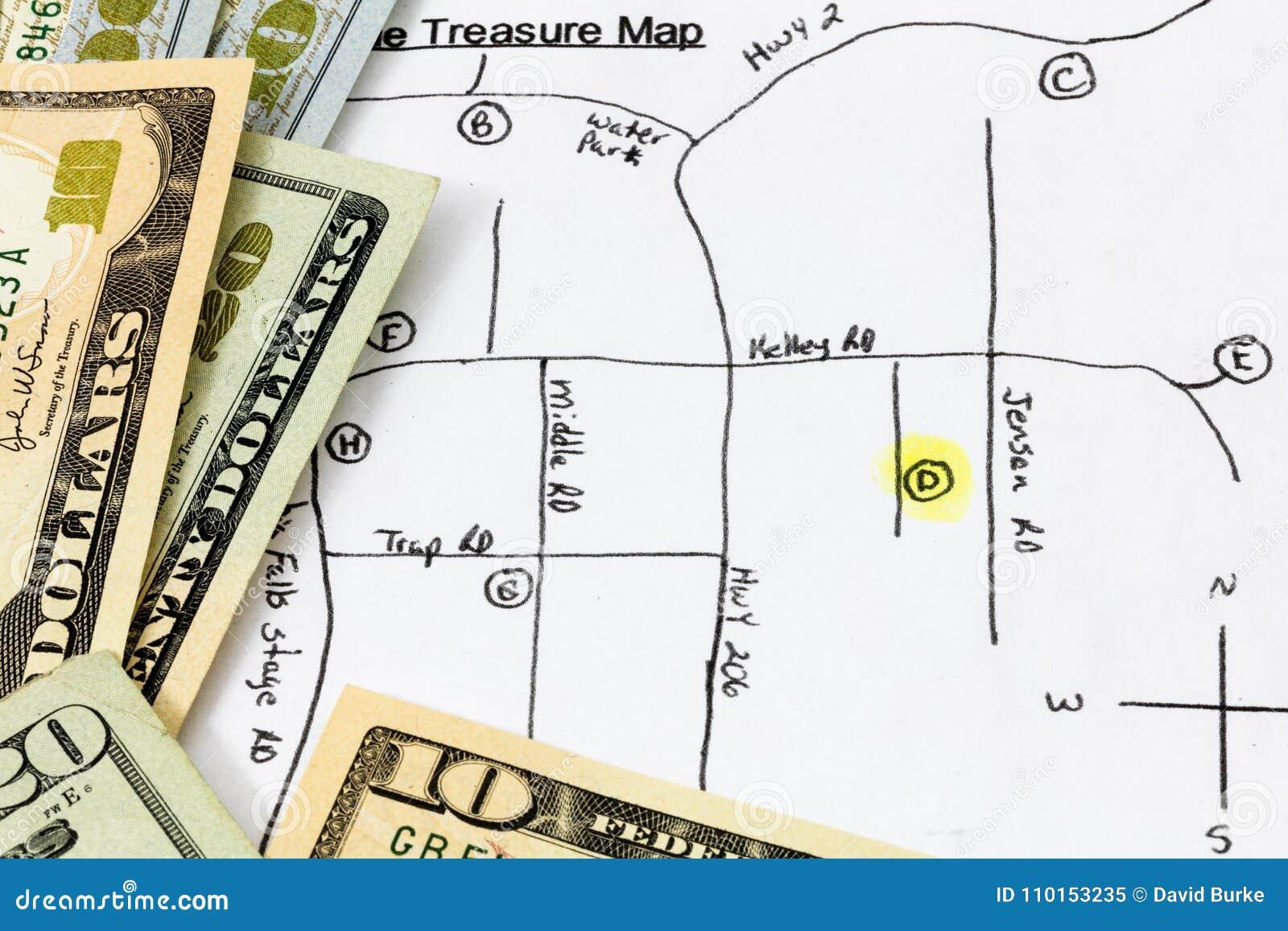 Treasure Hunt Map Money Cash Stock Image - Image of driving ... on