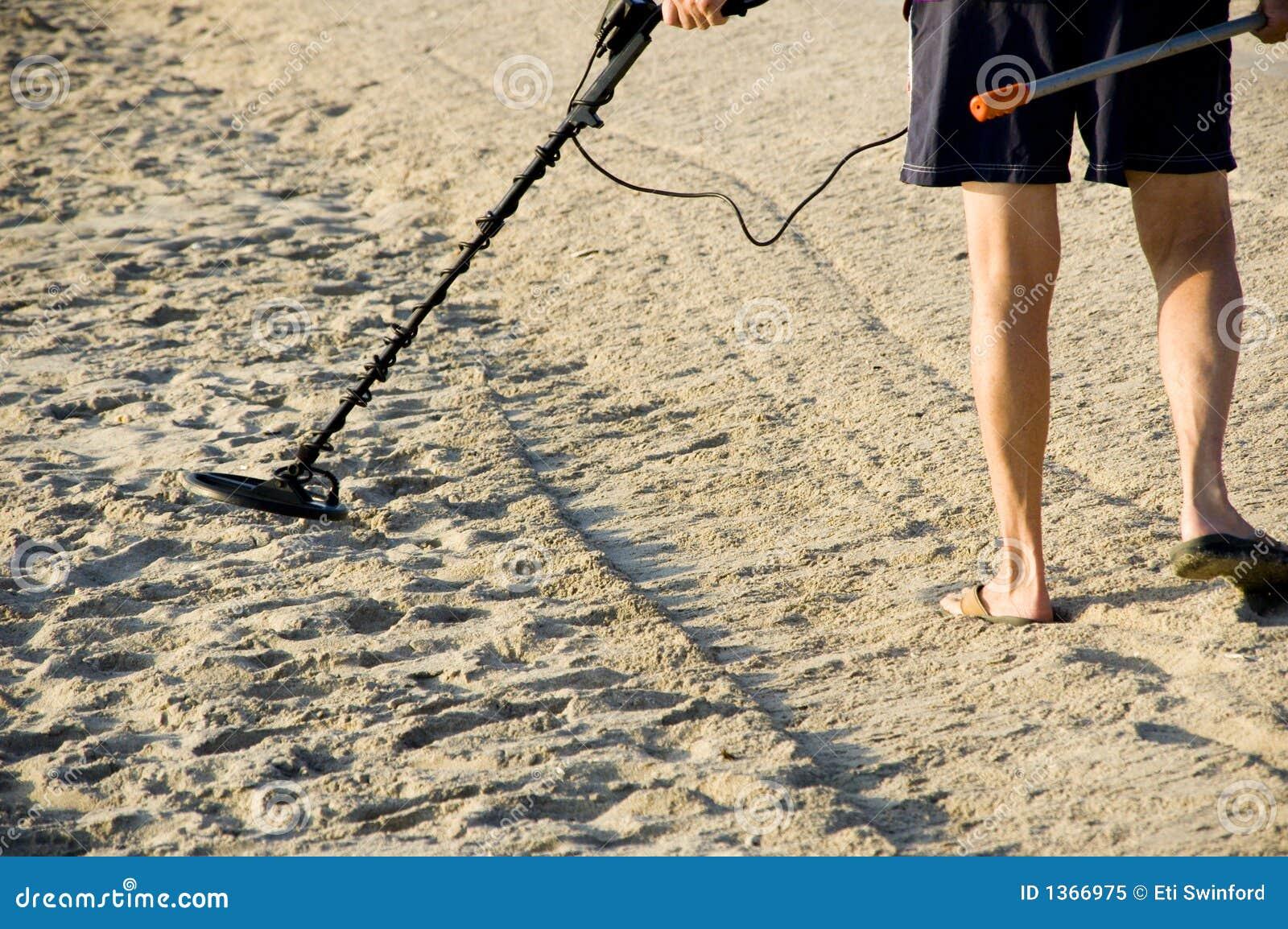 Jew Detector: Treasure Hunter On The Beach. Royalty Free Stock Photo