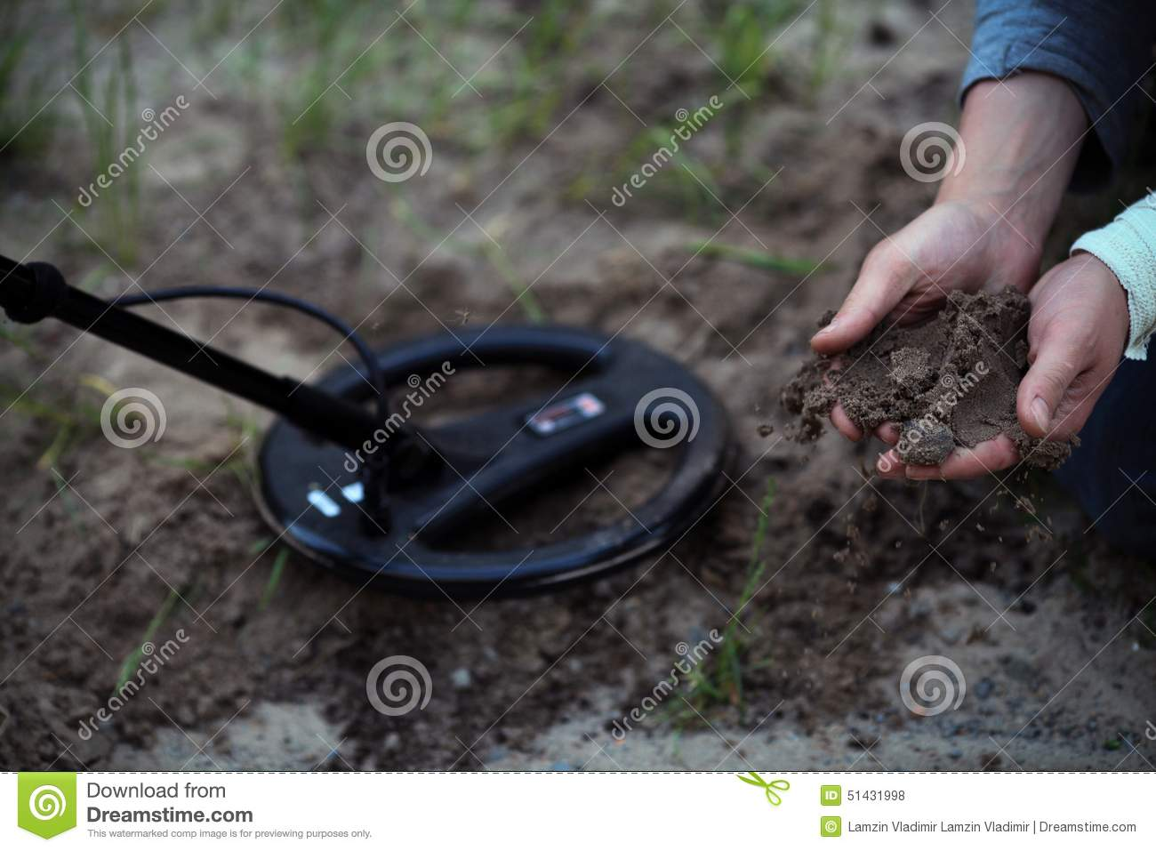 Jew Detector: The Treasure-hunters. Working With A Metal Detector. Stock