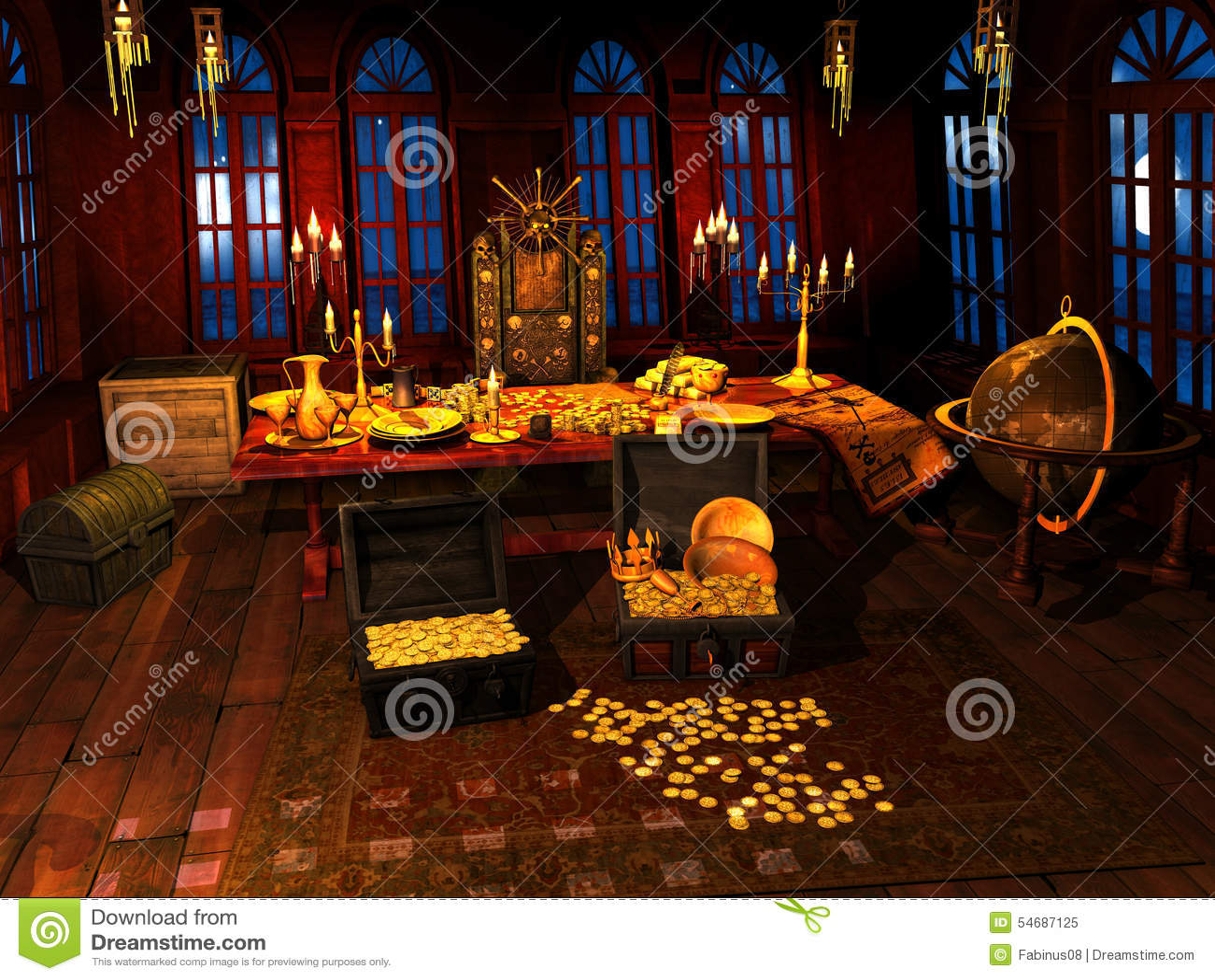 Treasure Inside Pirate Ship Stock Image Image Of
