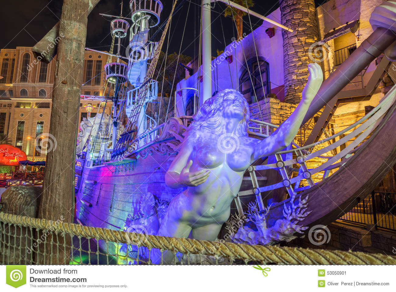 treasure island hotel and casino pirate ship at night editorial photo