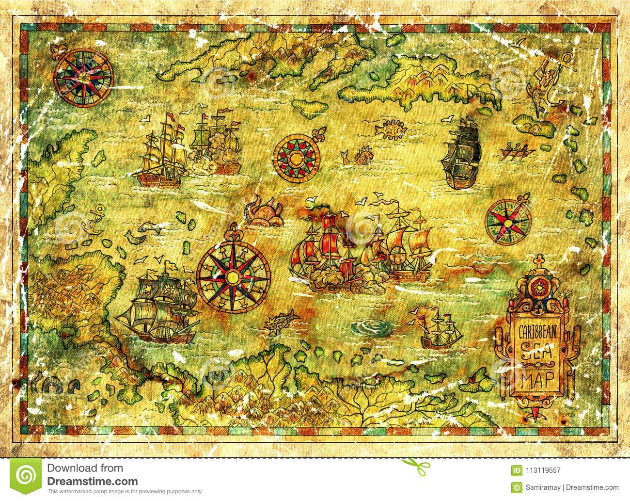 Treasure Island Map Of Caribbean Sea With Ships And Compasses Stock ...