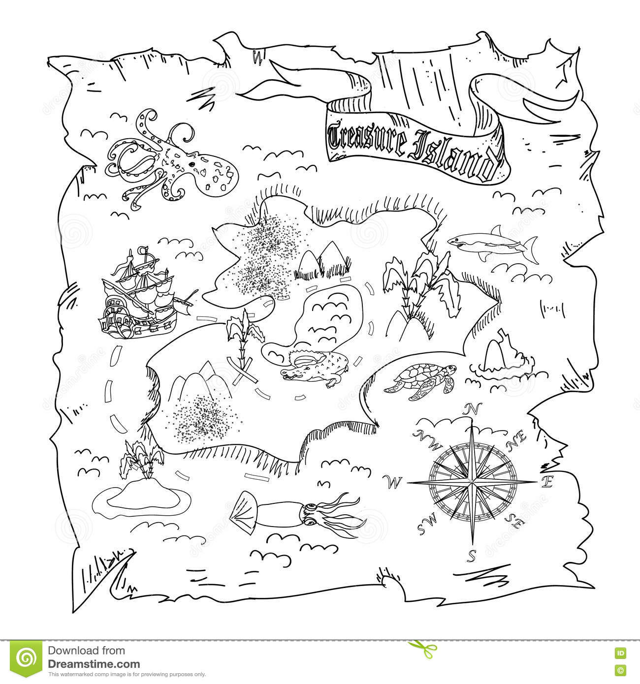 treasure map coloring pages - treasure island map kids coloring page stock illustration