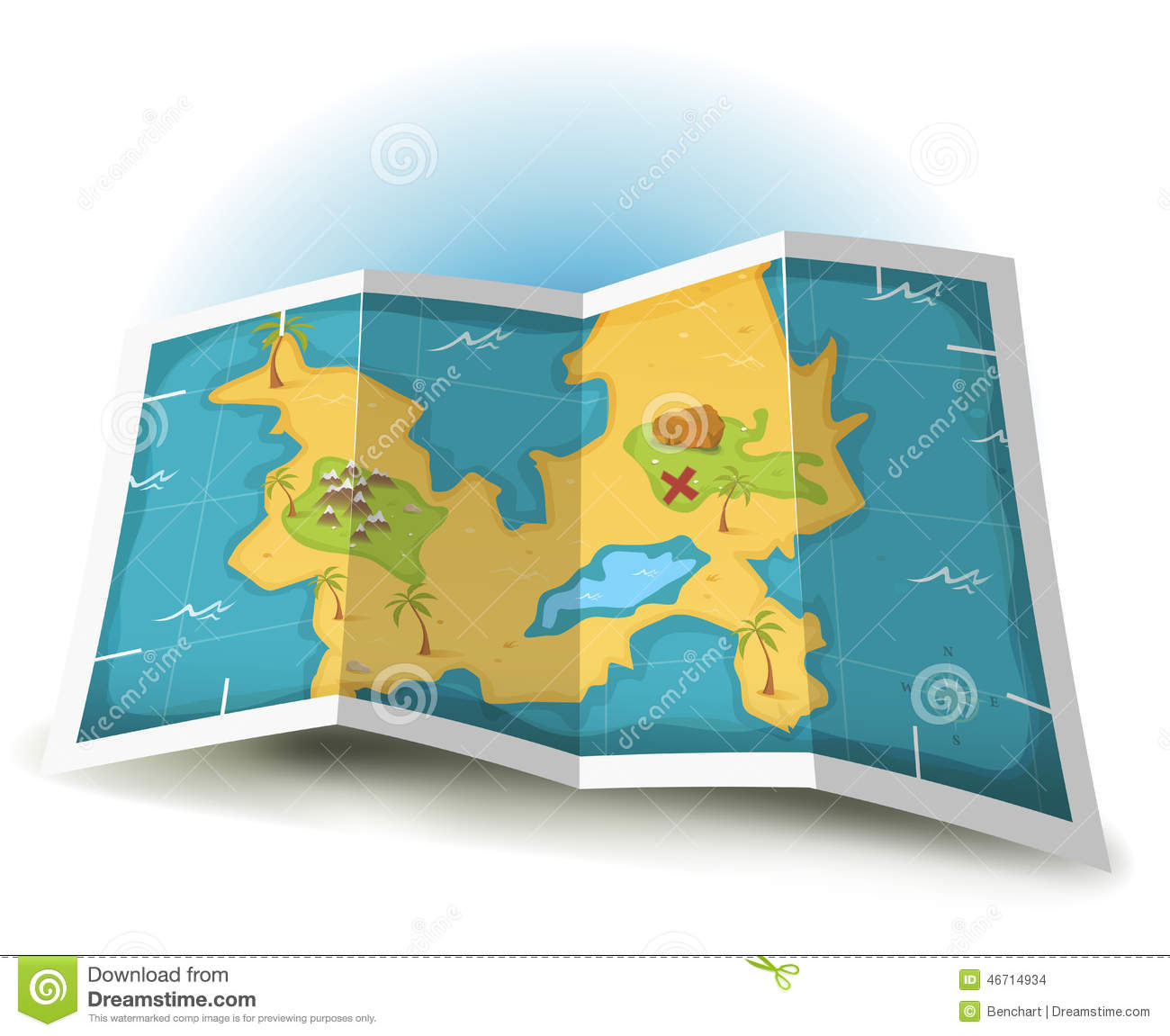 Treasure Island And Pirate Map Stock Vector Illustration Of