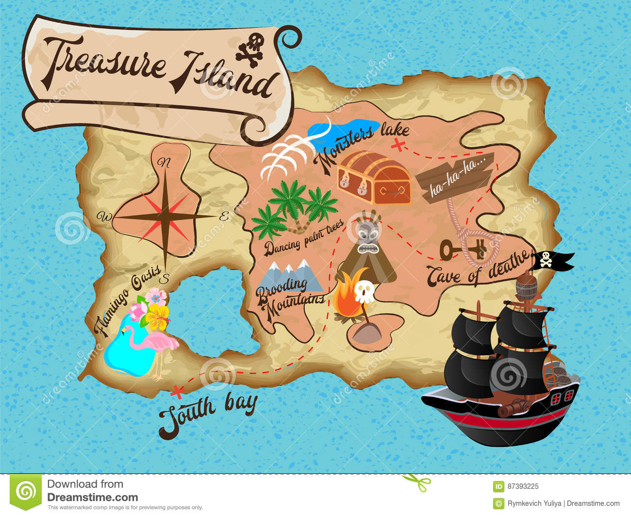 Treasure Island Pirate Map For Quest Stock Vector - Illustration of on