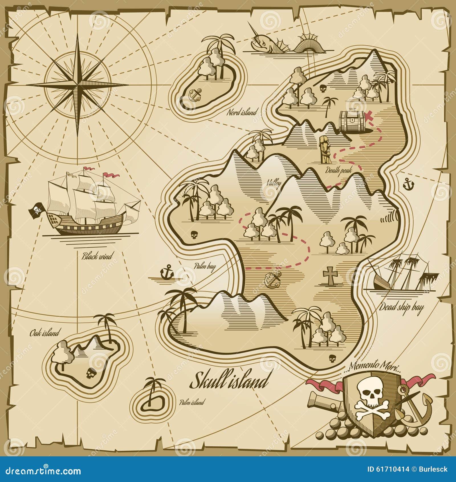 Treasure Island Vector Map In Hand Drawn Style Stock