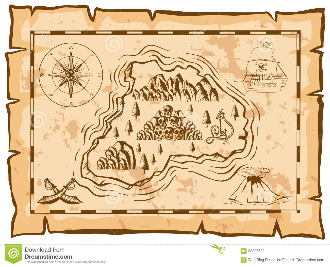 Treasure Map Of Dead Island Stock Vector - Illustration of drawing on