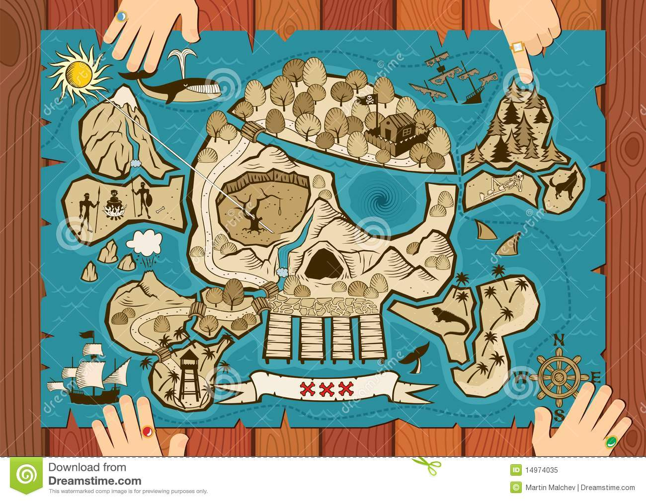 Treasure Map On Desk Royalty Free Stock Photo - Image: 14974035