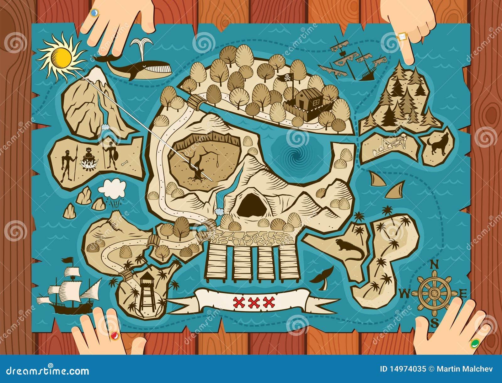 Treasure Map On Desk Royalty Free Stock Photo Image