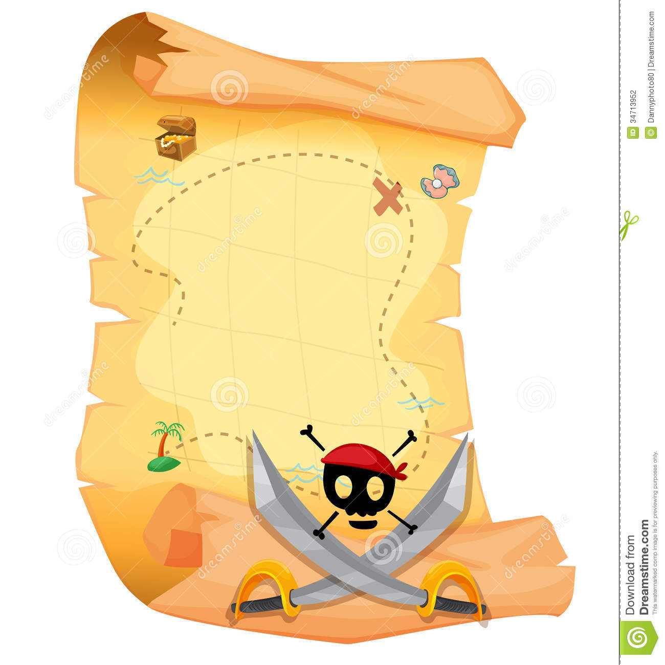 A Treasure Map With A Skull And Sharp Swords Stock ...