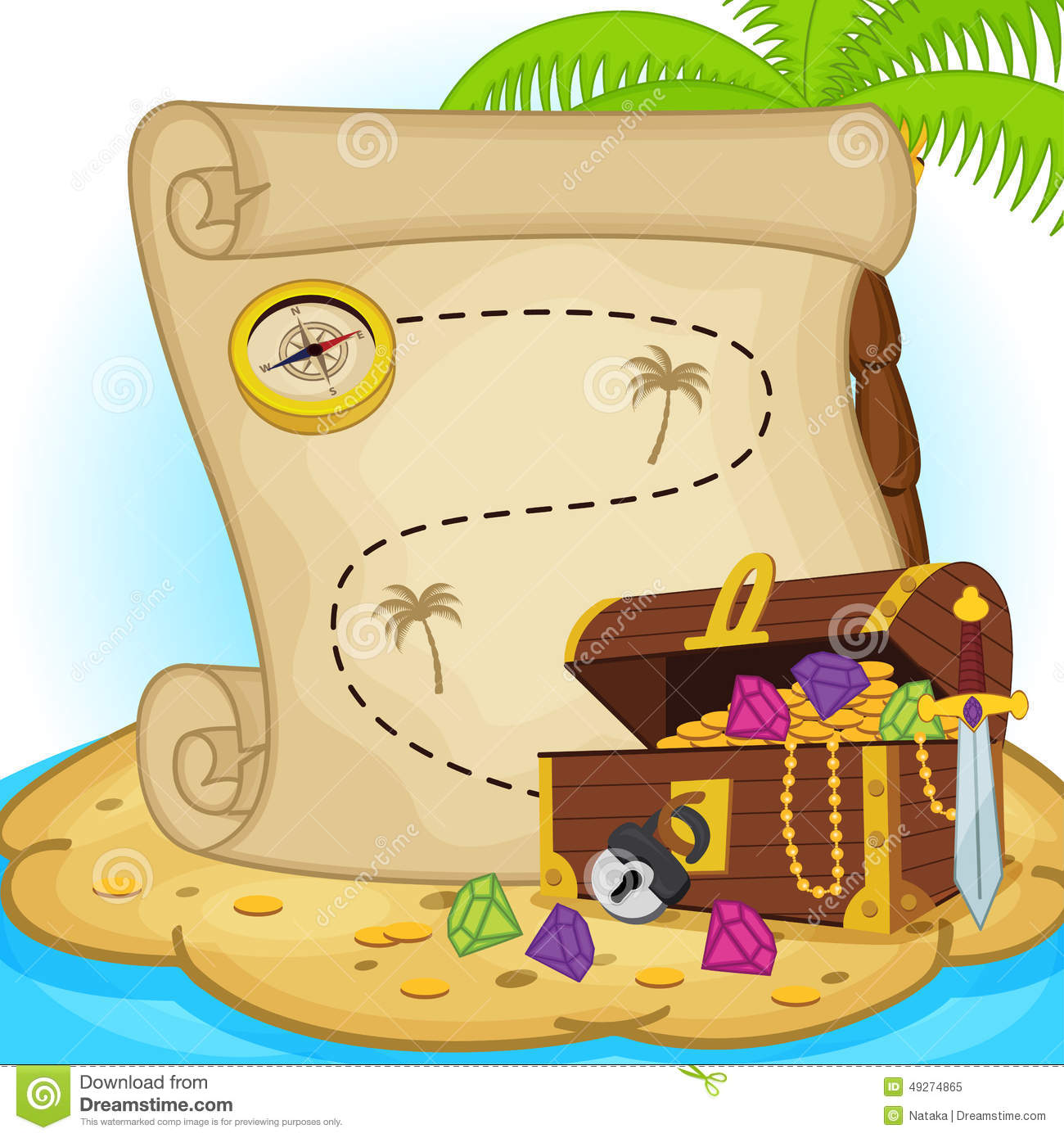 Treasure Map And Treasure Chest On Island Stock Vector ...