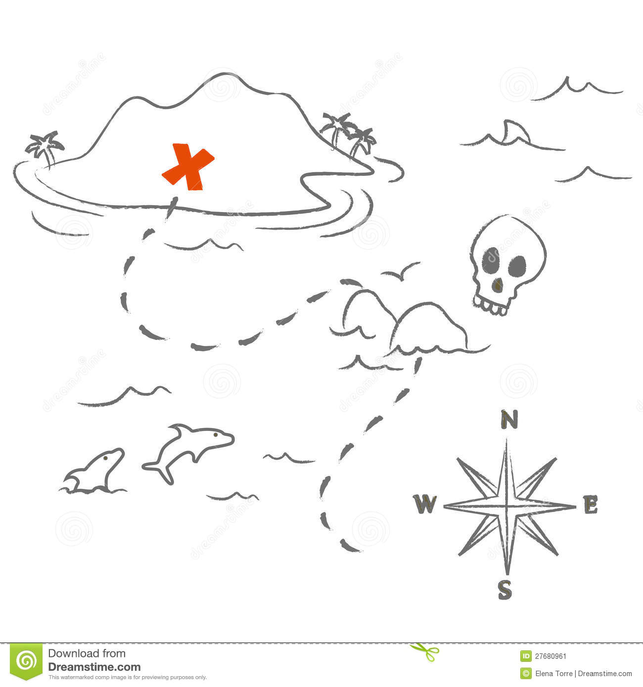 Treasure Map Vector Stock Image Image 27680961