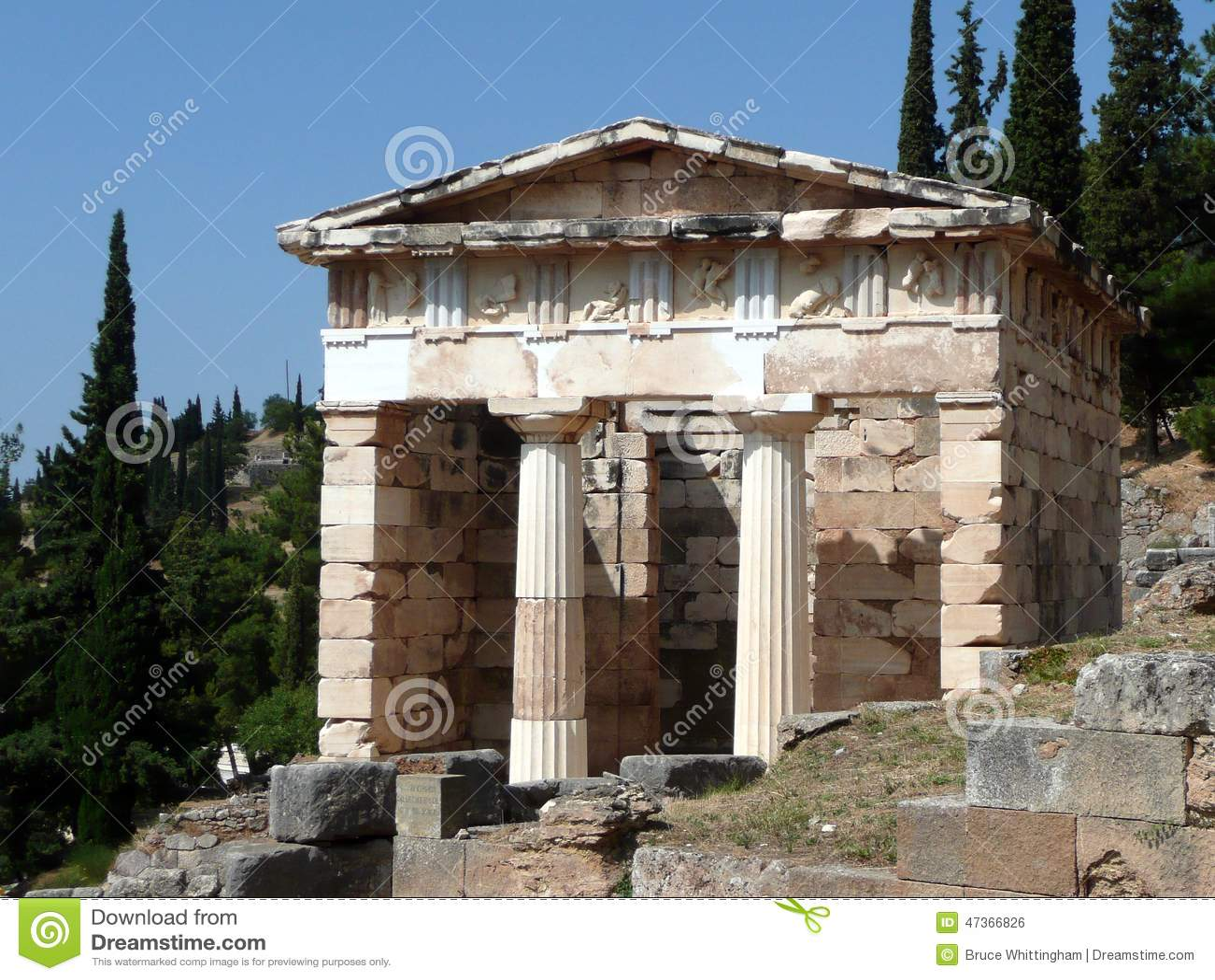 Treasury Of The Athenians, Delphi Stock Photo - Image ...