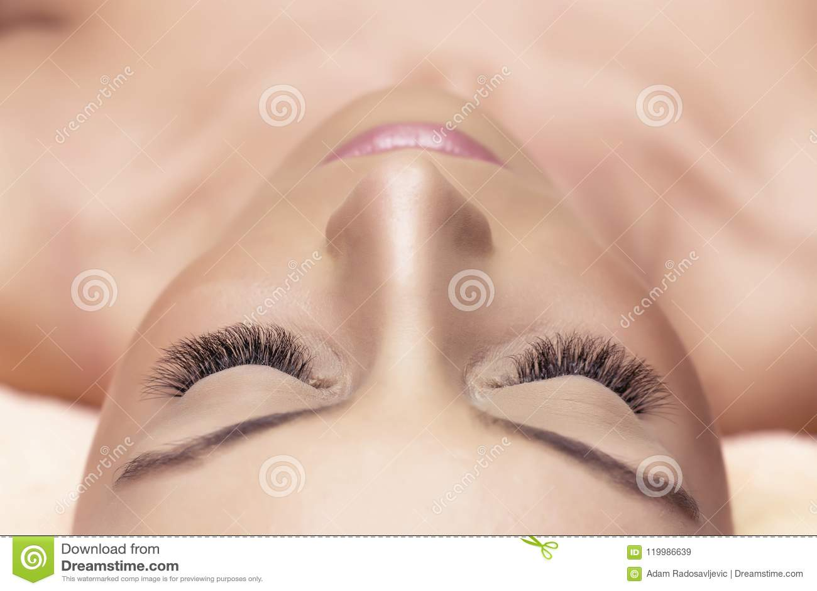 Woman Eyes With Long Eyelashes Eyelash Extension Lashes Stock