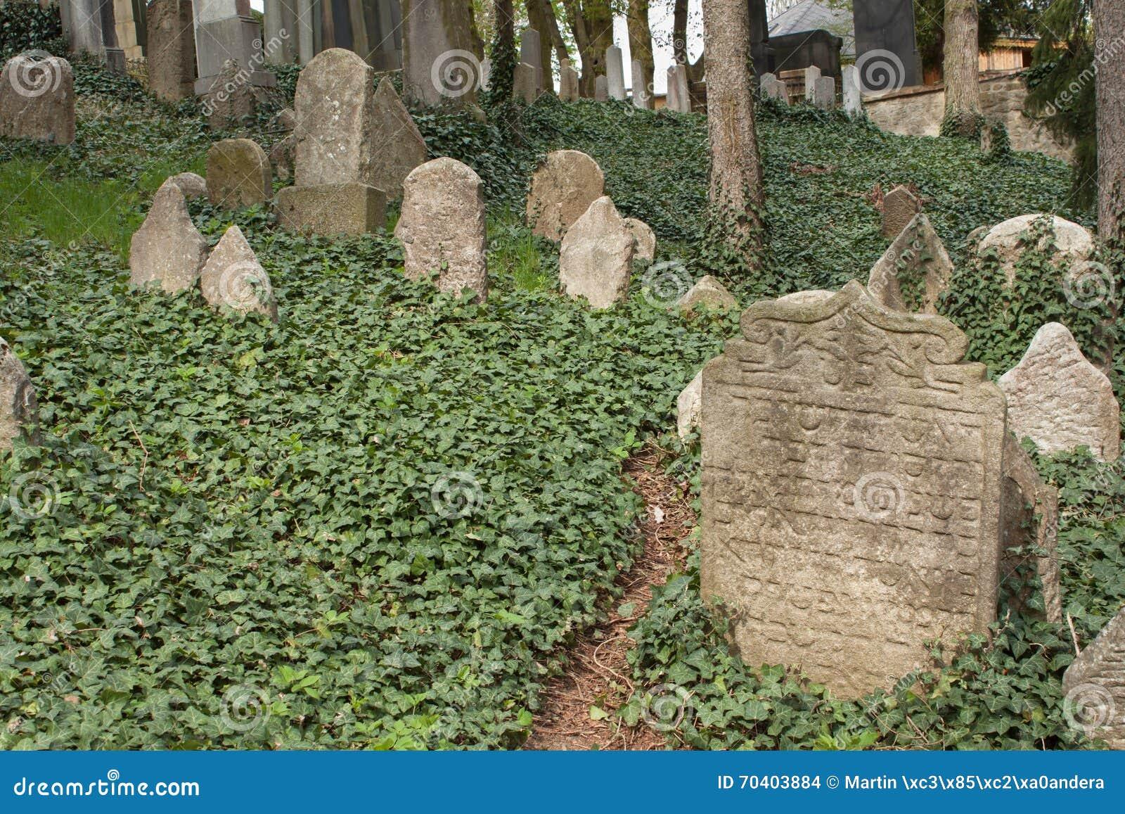 Trebic, republika czech, Kwiecień 23, 2016: Stary Żydowski cmentarz stara Żydowska część miasto Trebic spisuje wśród UNESCO