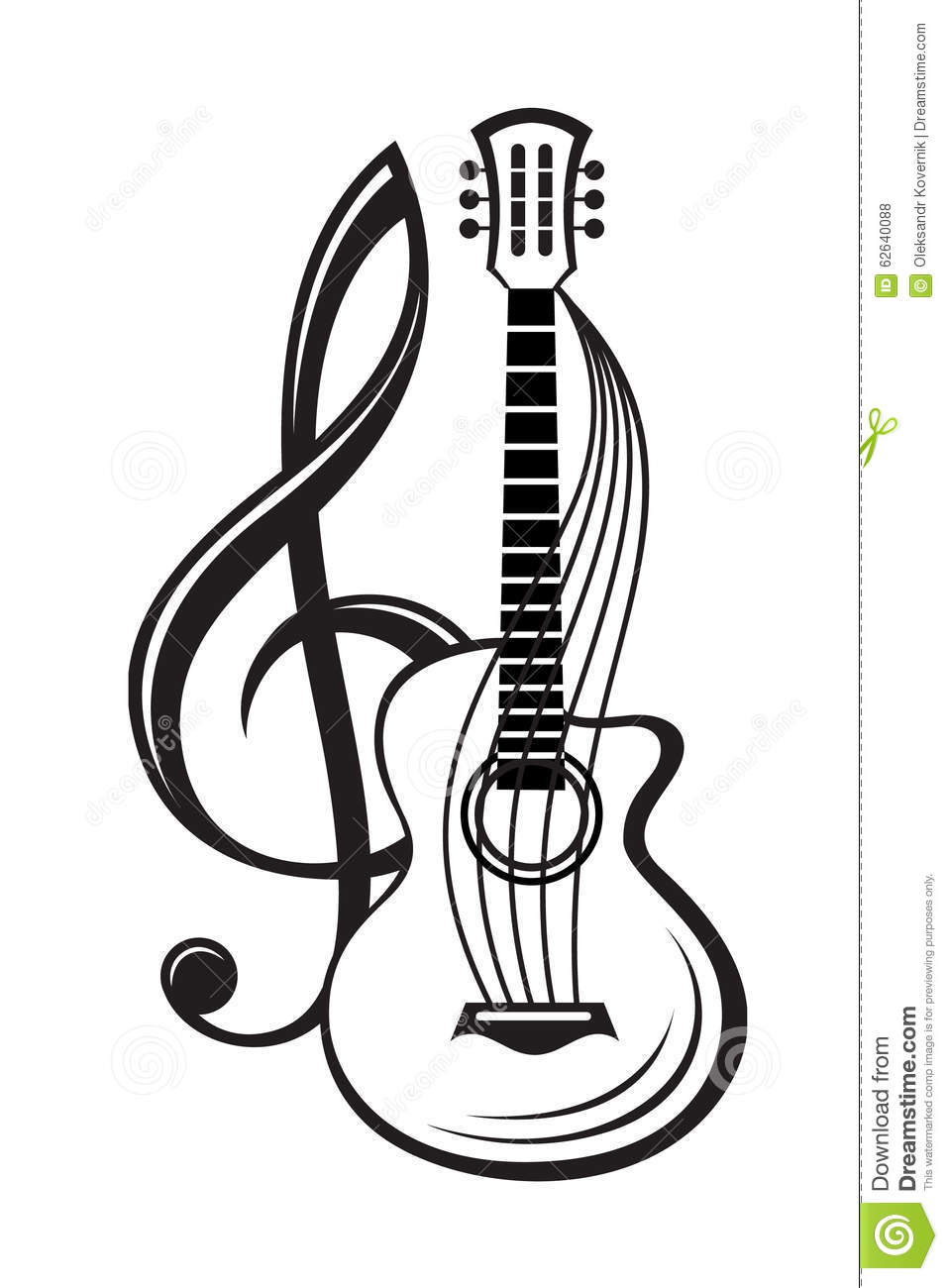 Treble Clef And Guitar Stock Vector - Image: 62640088