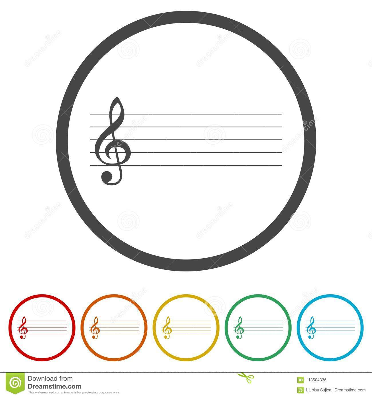 7a1939b91 Treble Clef icon, Musical key, 6 Colors Included, simple vector icons set
