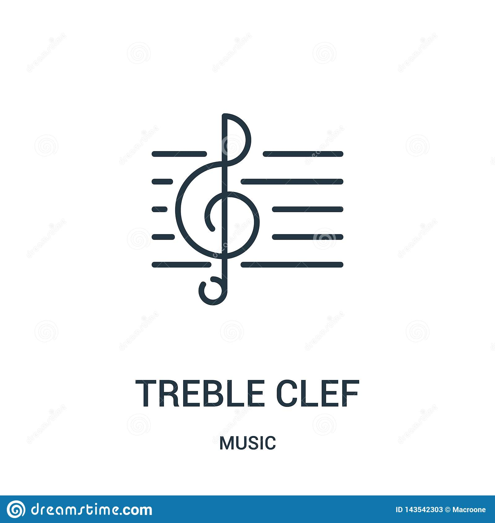treble clef icon vector from music collection. Thin line treble clef outline icon vector illustration