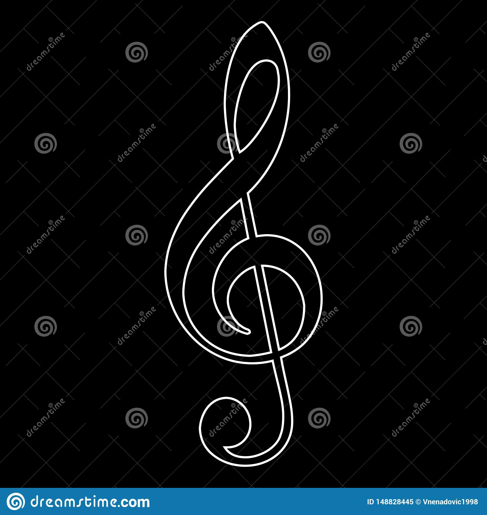 Treble clef ikona, muzyki notatka, wektorowa ilustracja