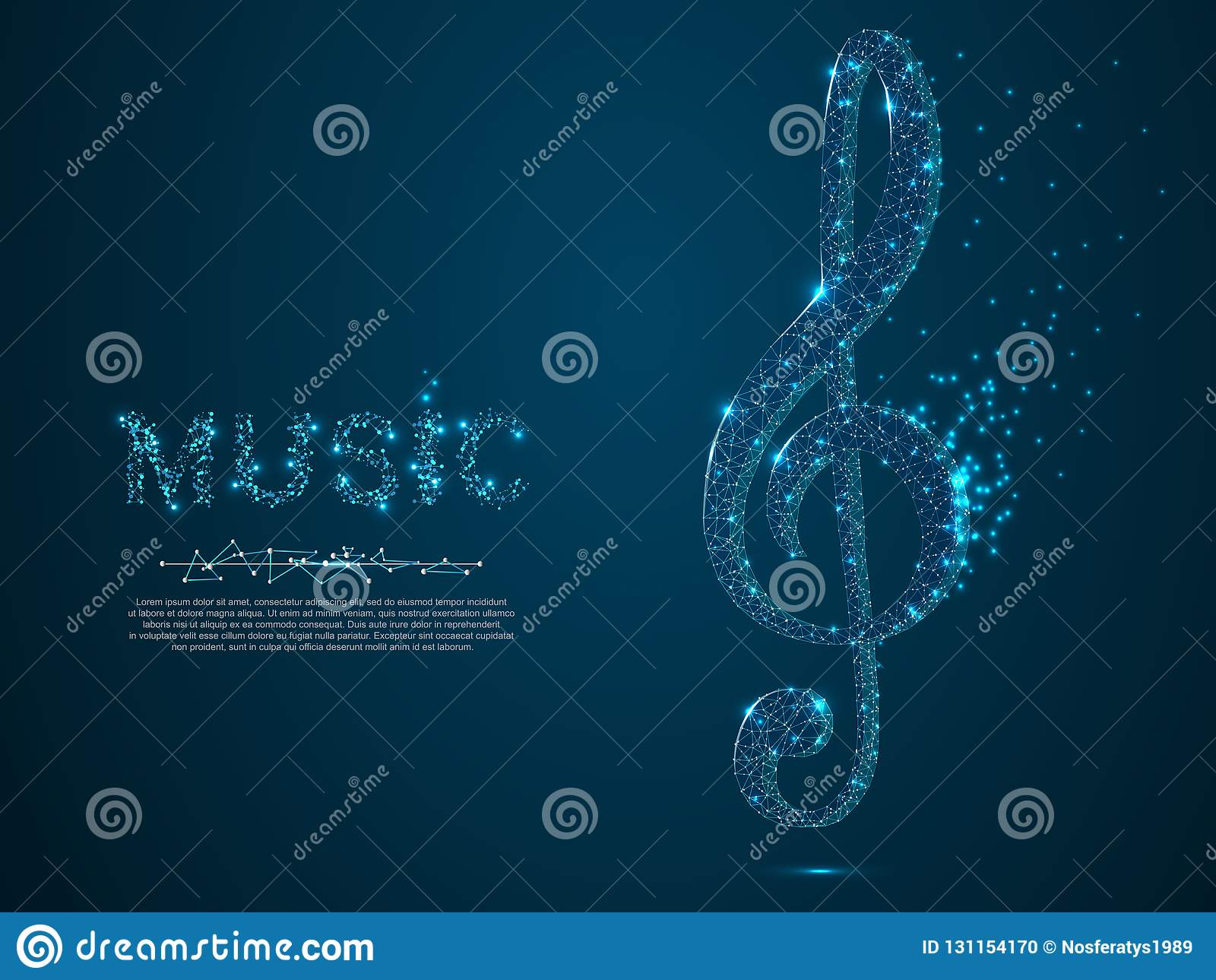 Treble clef vector polygonal art style. Low poly wireframe illustration. Music note. Destructing triangles
