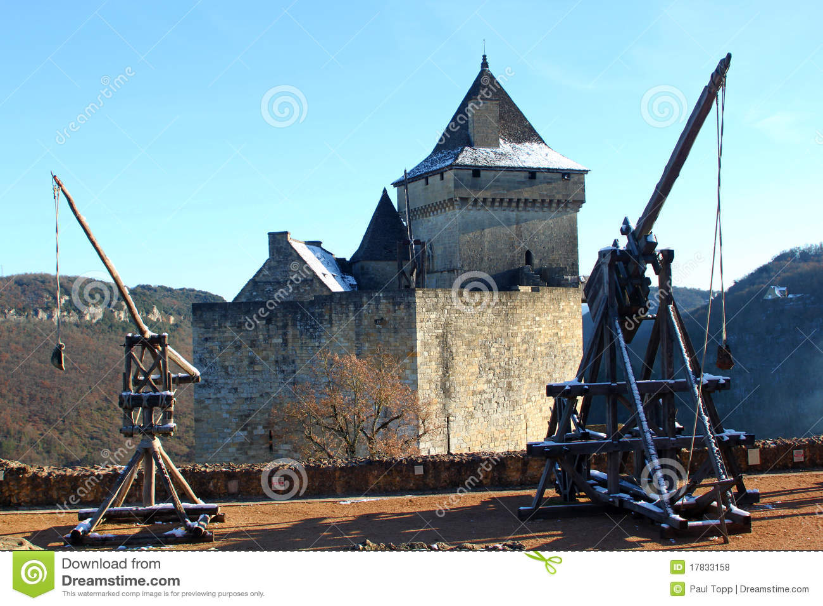 Trebuchet Франции Dordogne замока Castelnaud Стоковое Фото