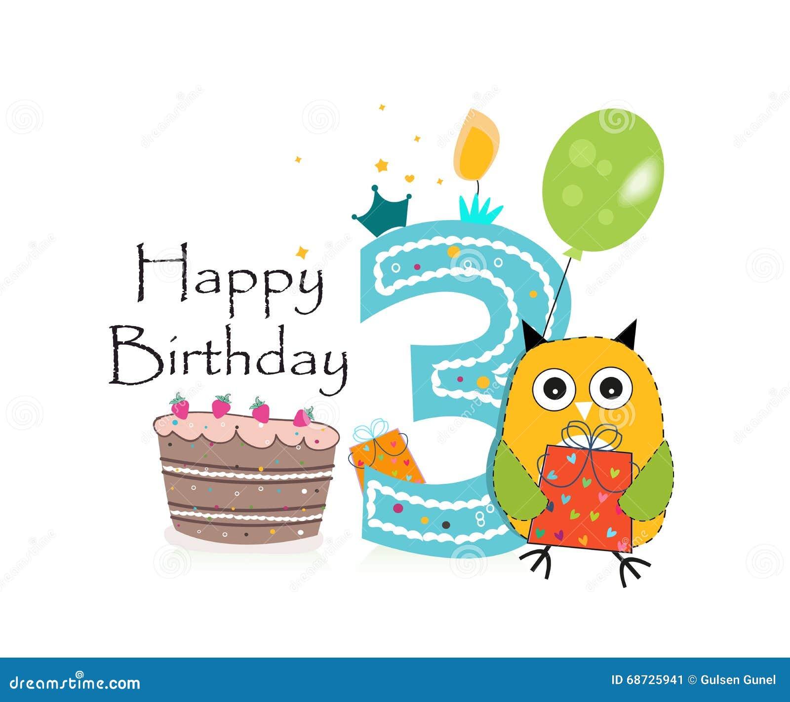 Tredje födelsedaghälsningkort Gullig uggla-, ballong- och för födelsedagkaka vektorbakgrund
