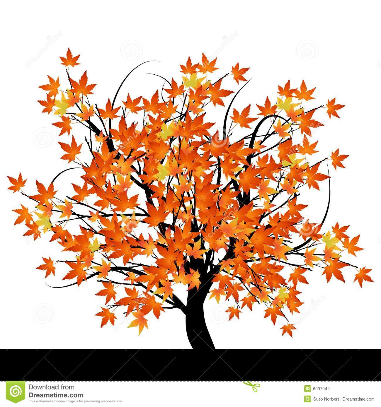 Tree With Autumn Leaves Stock Vector Illustration Of Brush 6007942