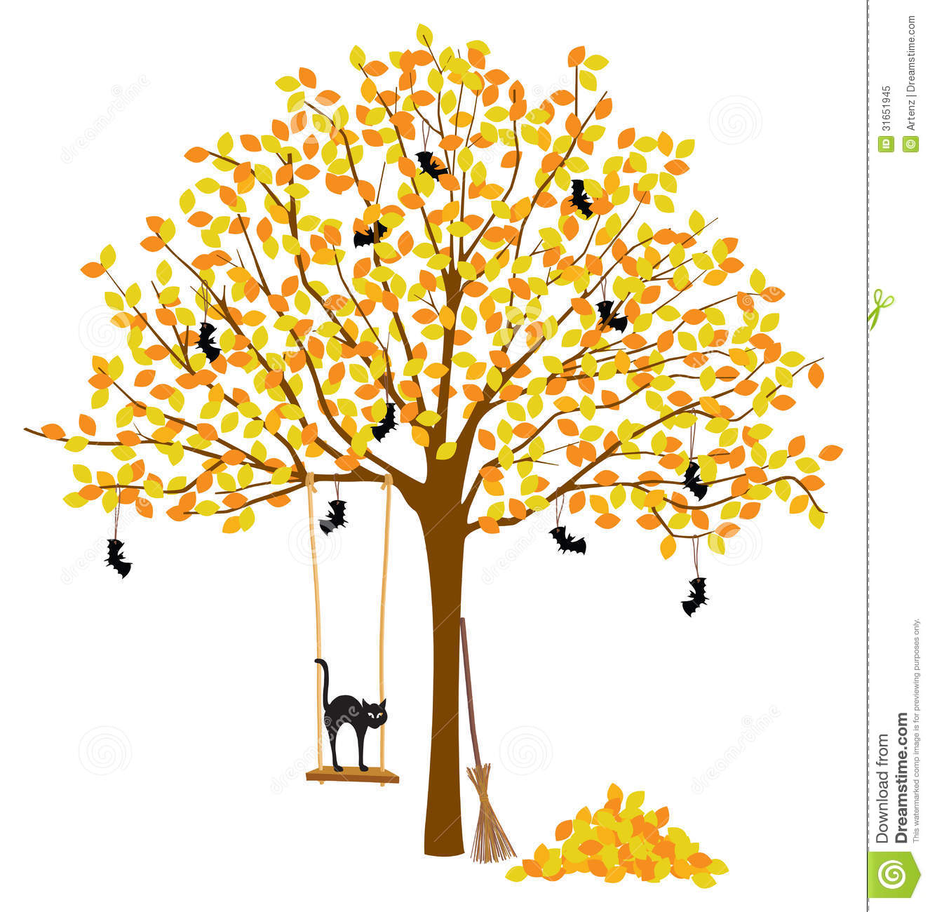 Tree With Autumn Leaves And Halloween Decorations Stock Vector Illustration Of Trunk Nature 31651945