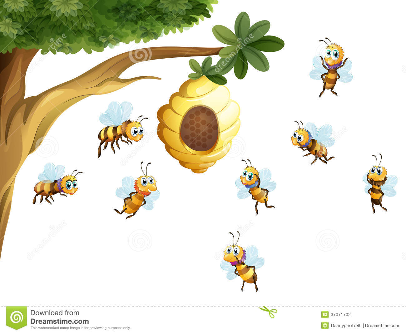 A Tree With A Beehive Surrounded By Bees Stock Photography ...