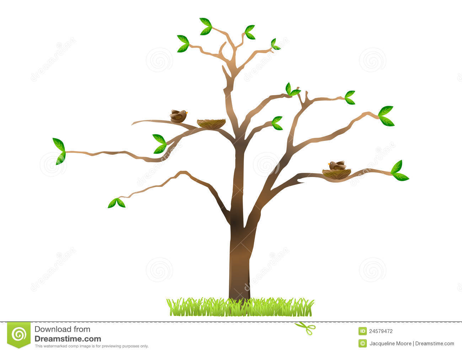 Tree with birds nesting stock illustration. Illustration ...