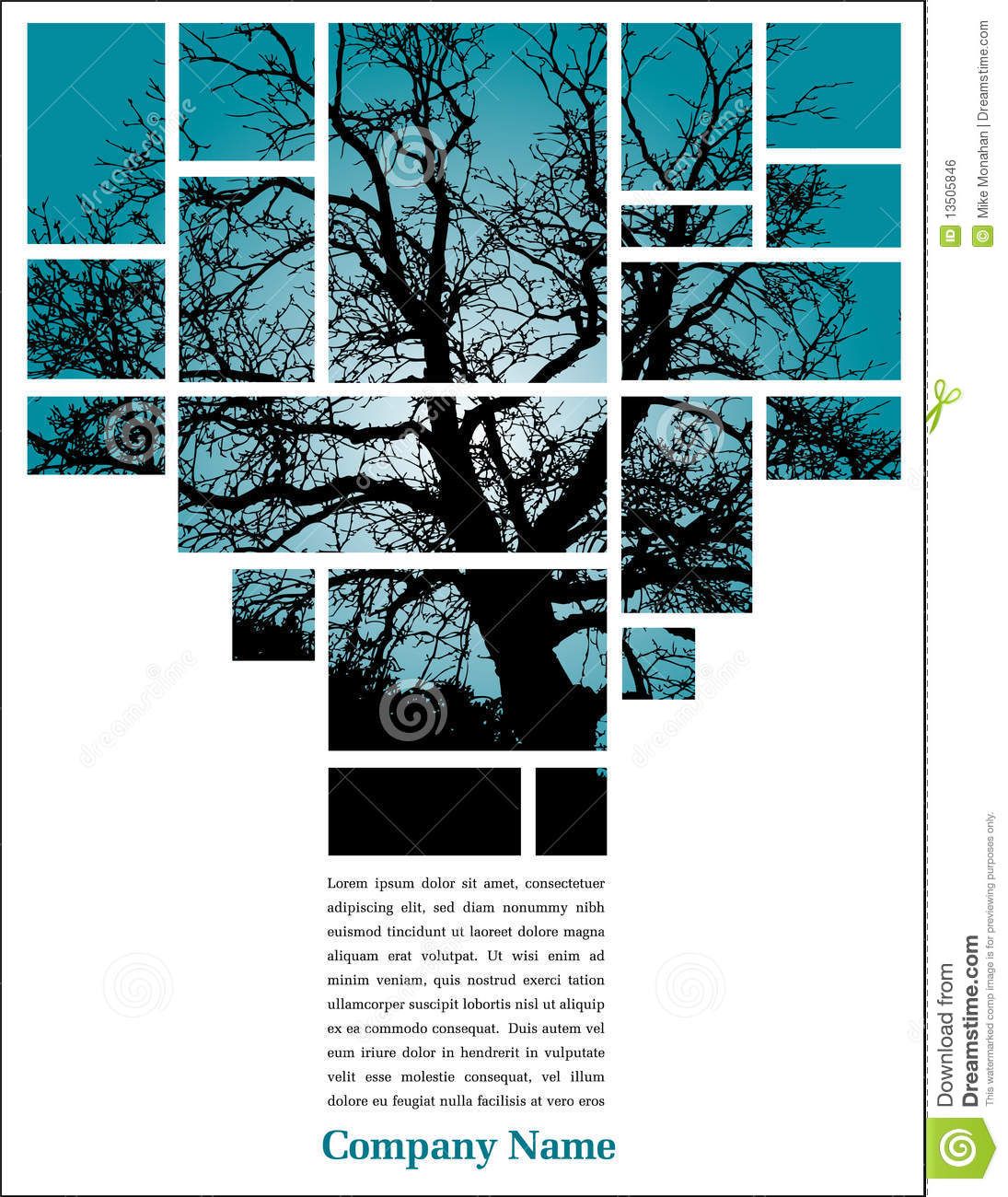 Tree in blocks with text