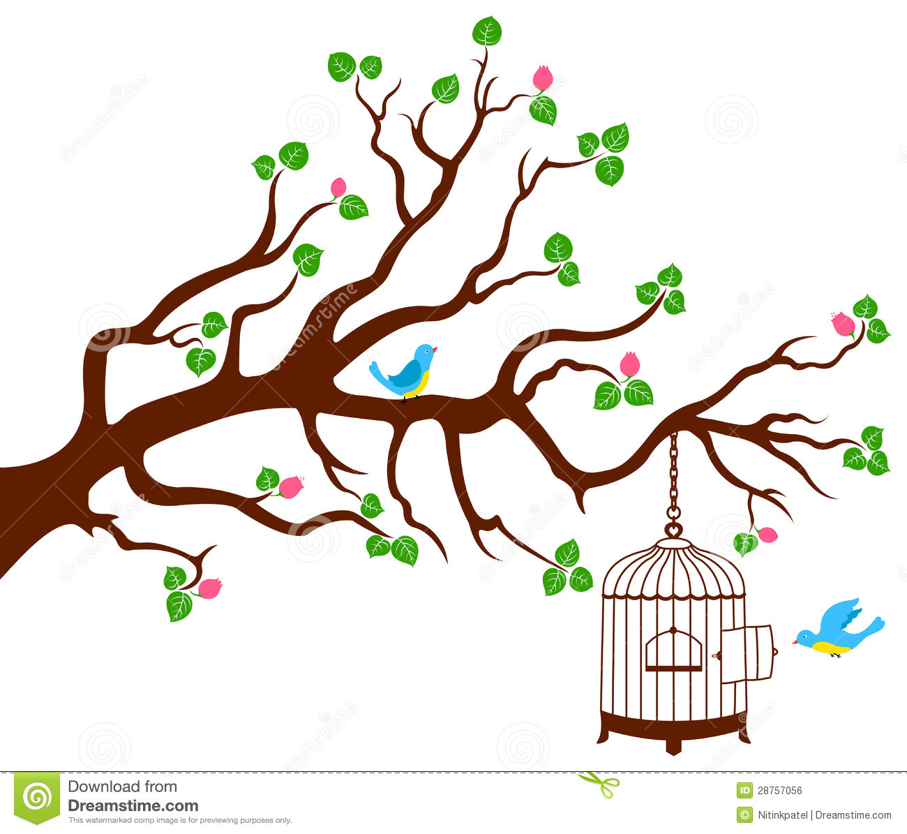 Welcome Wall Sticker Tree Branch With Bird Cage And Two Birds Royalty Free