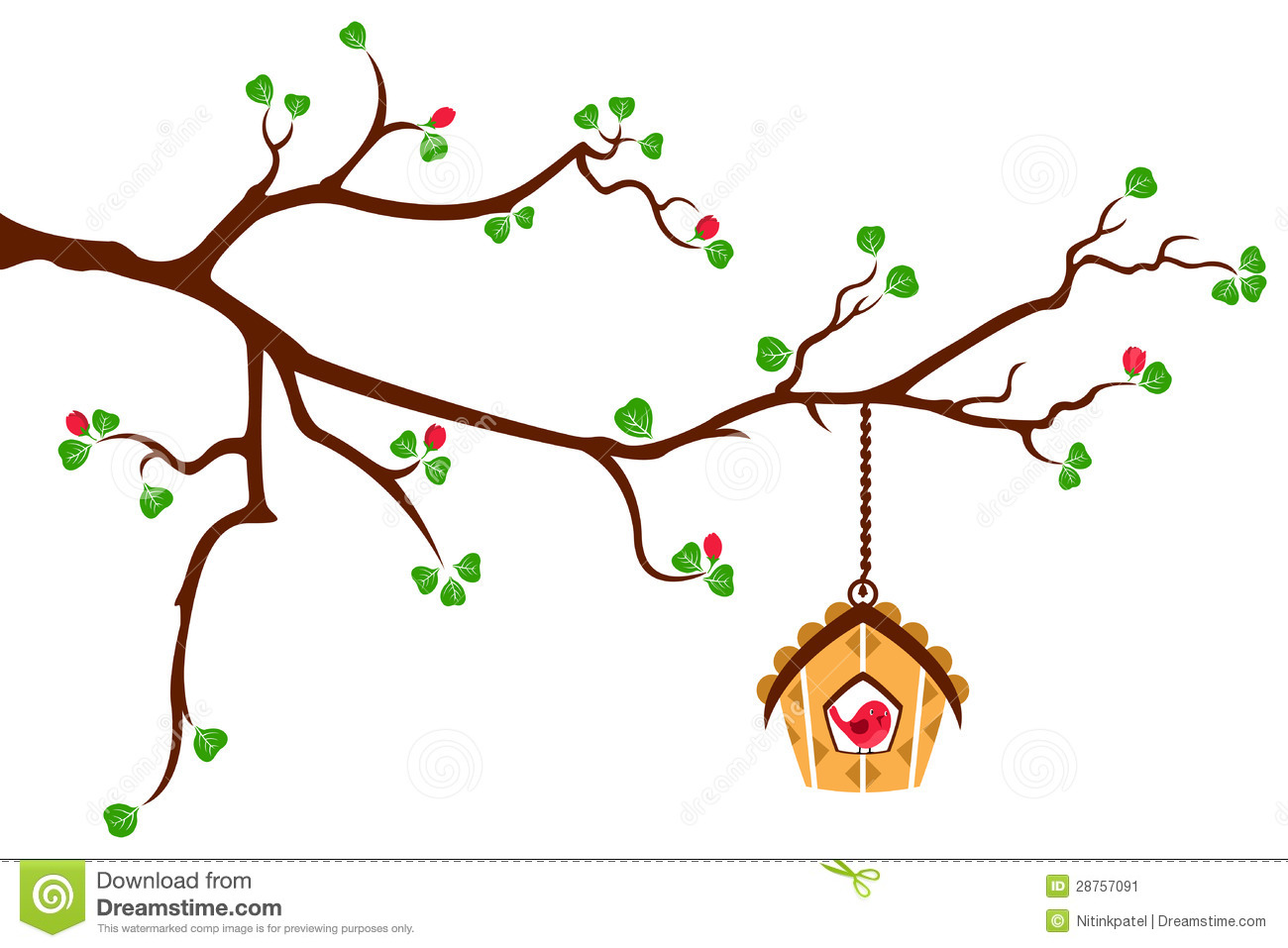 Blossom Wall Stickers Tree Branch With Hut Style Bird House Stock Illustration