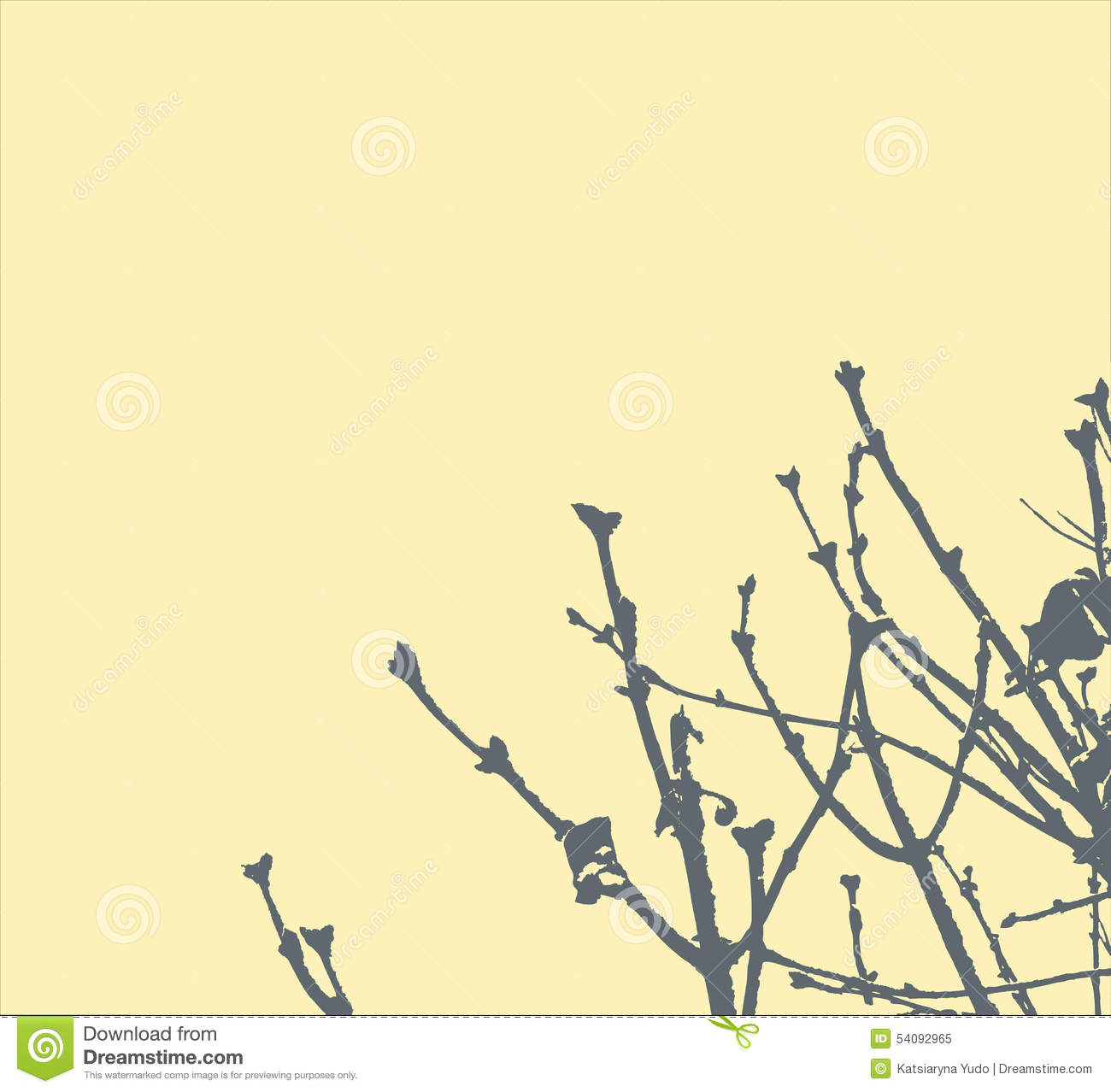 Tree branches on light yellow background