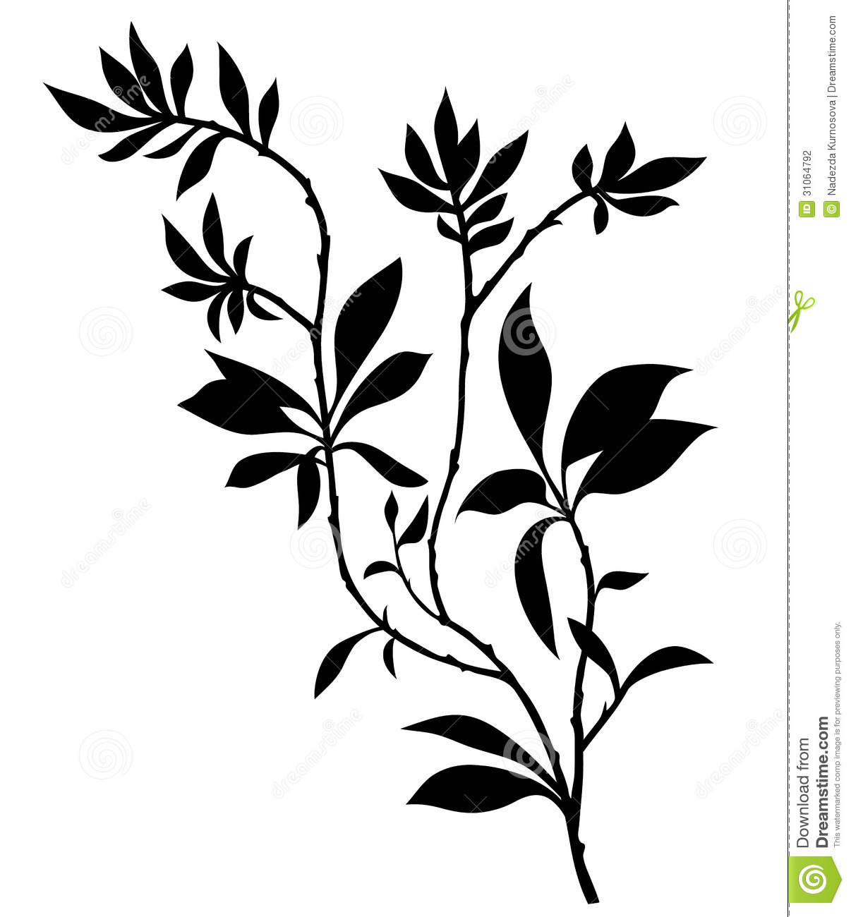 tree branches silhouette with lot of leaves stock vector