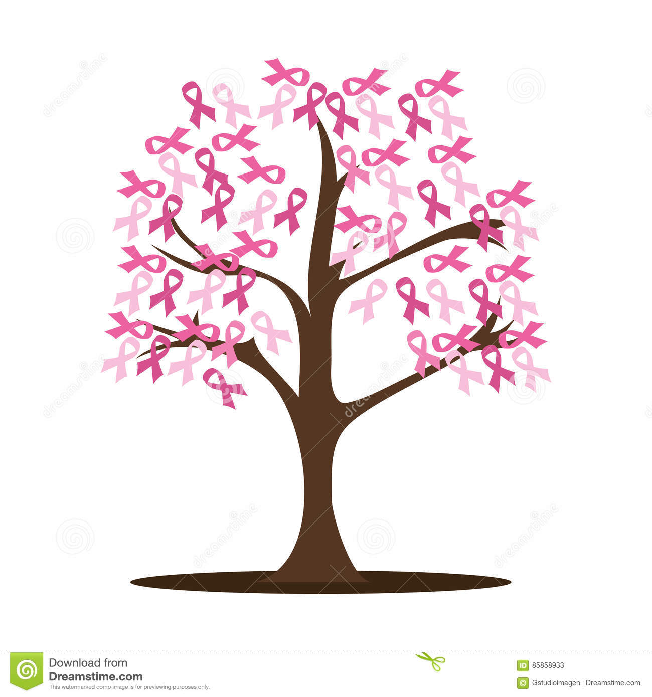 Tree With Breast Cancer Ribbon Pink Stock Vector