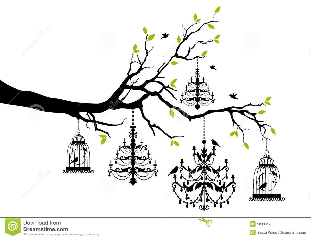 Tree with chandelier and birdcage vector stock vector tree with chandelier and birdcage vector arubaitofo Gallery